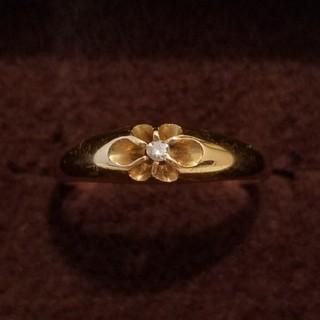 k18 18金  希少 菊爪生子 指輪 昭和レトロ(リング(指輪))
