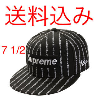 シュプリーム(Supreme)のSUPREME Text Stripe New Era Black 7 1/2(キャップ)