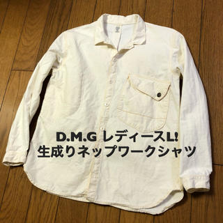 ドミンゴ(D.M.G.)のレディースL相当!DMG(ドミンゴ)古着ネップ長袖ワークシャツ 3号 生成り (シャツ/ブラウス(長袖/七分))