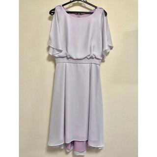 スコットクラブ(SCOT CLUB)の変形スリーブラウンドヘムシャイニードレス(ミディアムドレス)