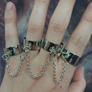 4連 チェーン リング フリーサイズ(リング(指輪))