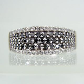 K14WG ブラックダイヤモンド リング 15.5号[f10-15](リング(指輪))