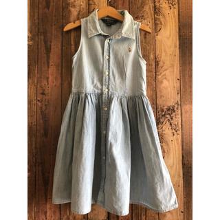 ラルフローレン(Ralph Lauren)の美品 ラルフローレン デニムシャツ ワンピース 120 ノースリーブ(ワンピース)