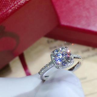 本物保証 リング 指輪 k18 モアサナイト 1ct(リング(指輪))