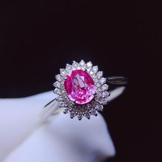 本物保証 k18 リング パパラチャサファイア宝石 ダイヤモンド(リング(指輪))