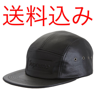シュプリーム(Supreme)のSUPREME Pebbled Leather Camp Cap Black(キャップ)