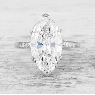 【newデザイン】貴婦人マーキースカット モアサナイト  ダイヤモンド リング(リング(指輪))