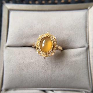 225 k18ゴールドリング ハット 黄翡翠リング ダイヤモンドリング 指輪 (リング(指輪))