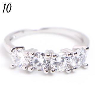 C8 リング 10号 CZ ダイヤモンド 4粒 シンプル レディース(リング(指輪))