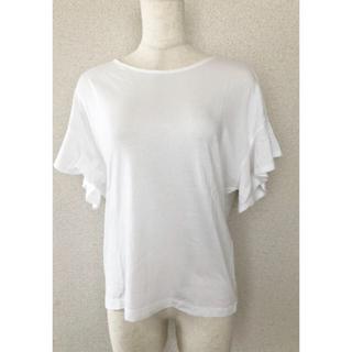 ユニクロ(UNIQLO)のUNIQLO☆フリルスラーブT☆ホワイト(カットソー(半袖/袖なし))