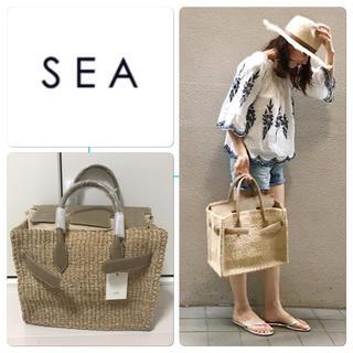 シー(SEA)のSEA sea カゴバーキン Mサイズ 新品 カゴバッグ グレージュ(かごバッグ/ストローバッグ)