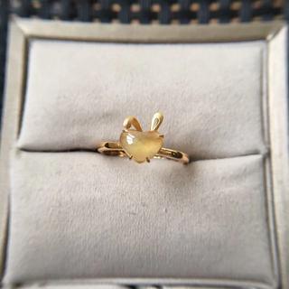 226 k18ゴールドリング うさぎ 黄翡翠リング ダイヤモンドリング 指輪 (リング(指輪))