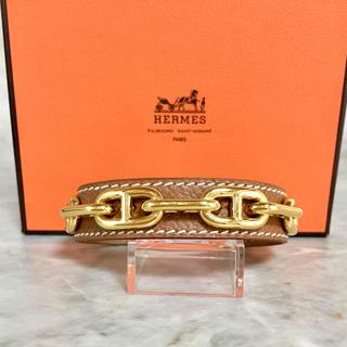エルメス(Hermes)の正規品 エルメス バングル シェーヌダンクル ゴールド レザー 革 ブラウン H(ブレスレット/バングル)