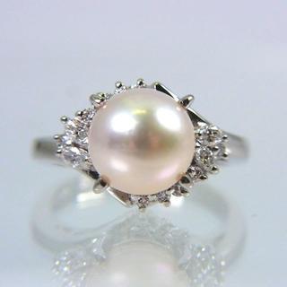 Pt900 天然アコヤ真珠 ダイヤモンド リング 6.5号(リング(指輪))