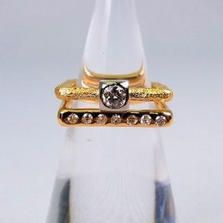 LA・ROUX K20/K18 ダイヤモンド スクエア ピンキー リング (リング(指輪))