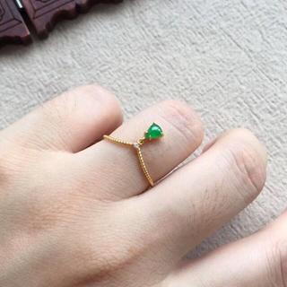 233 k18ゴールドリング 翡翠リング ダイヤモンドリング 指輪 ピンクゴー(リング(指輪))