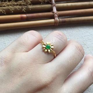 234 k18ゴールドリング 翡翠リング ダイヤモンドリング 指輪 ピンクゴー(リング(指輪))
