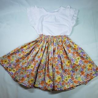 ギャザースカート(花柄オレンジ)