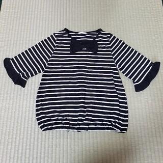 ジーユー(GU)の5分袖 ボーダーTシャツ 130cm(Tシャツ/カットソー)