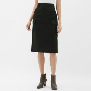 ジーユー(GU)の新品  gu  カーゴミディスカート  ブラック(ひざ丈スカート)