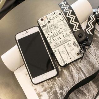 iphone 6/6s対応 スマホケース Rockプリント柄 ホワイト色