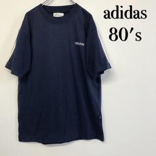 アディダス(adidas)の美品 80's古着 adidas Tシャツ 刺繍ロゴ×スリーライン(Tシャツ/カットソー(半袖/袖なし))