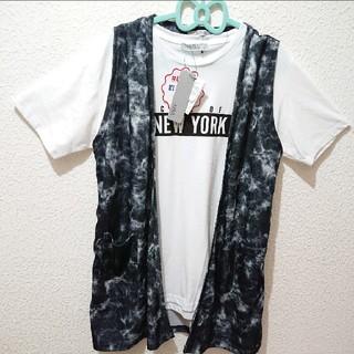 シマムラ(しまむら)の新品 しまむら AZUL PRIMERA メンズ シャツ+ベスト セット♥️GU(Tシャツ/カットソー(半袖/袖なし))