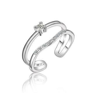 ダブル ライン ダイヤモンドcz ビジュー シルバー リング(リング(指輪))