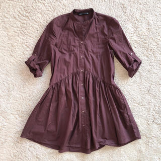 ZARA - パープル色のシャツワンピース
