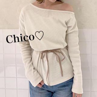 who's who Chico - 1点のみ♡ ワンショル紐付きサーマルT ヘザー ナイスクラップ ミスティック