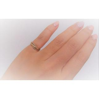 K10YG 0.03ct ダイヤ ピンキー リング 3連デザイン ダイヤモンド(リング(指輪))