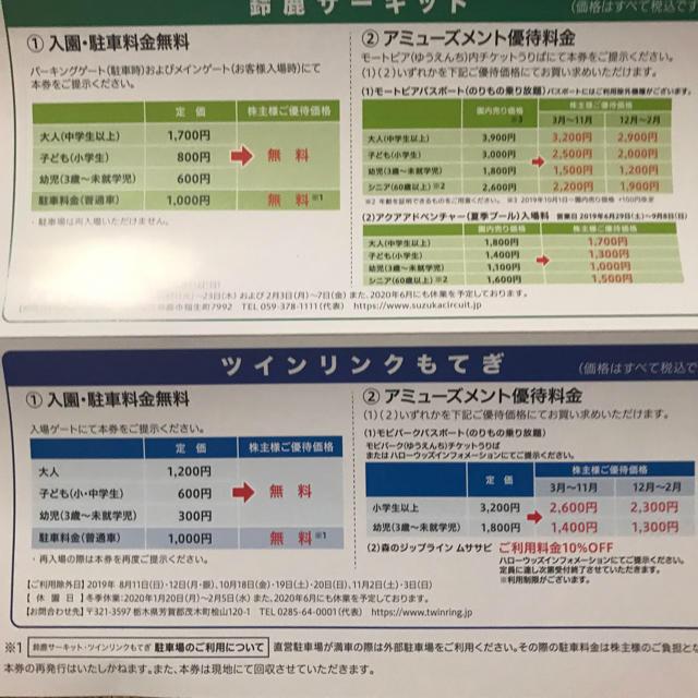 ホンダ(ホンダ)の本田技研の株主優待券 来年(2020年)7月まで使用できます チケットの施設利用券(遊園地/テーマパーク)の商品写真