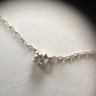 4℃ - 4°C K10WG ダイヤ 一粒ネックレス