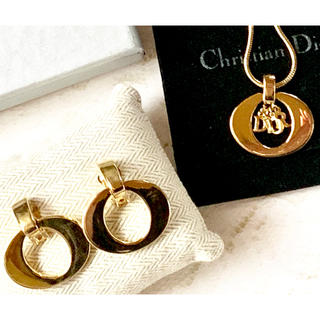 Christian Dior - 【希少】Christian Dior ヴィンテージ  ロゴネックレス&イヤリング