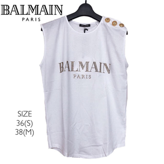 バルマン(BALMAIN)の【新品】BALMAIN バルマン レディース ロゴ タンクトップ 白 XS(Tシャツ(半袖/袖なし))