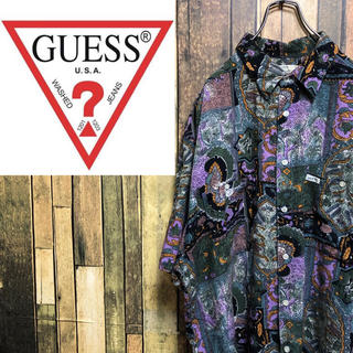GUESS - 【激レア】ゲスGUESS☆USA製ロゴタグ入り総柄レーヨンシャツ 90s