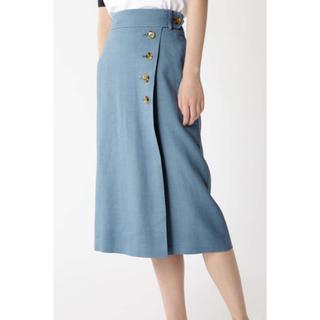 IENA - H/standard サイドボタンタイトスカート ブルー