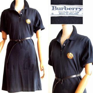 バーバリー(BURBERRY)のBurberry's★英製/刺繍が可愛いポロシャツワンピース/紺(ひざ丈ワンピース)
