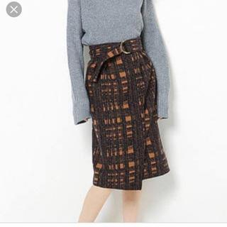ミスティウーマン(mysty woman)のカスレチェック柄ラップタイトスカート(ひざ丈スカート)