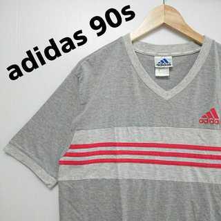 575 アディダス 胸刺繍 V首 Tシャツ 90年代製 パフォーマンスタグ