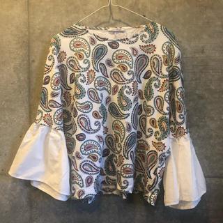ZARA - ZARA ペイズリー柄フリルTシャツ