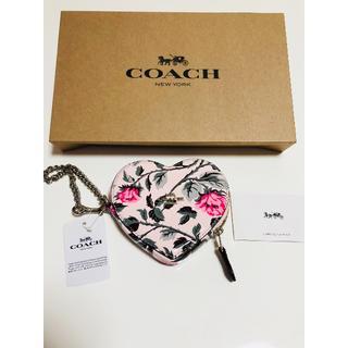 コーチ(COACH)のCOACH ローズ柄ハート♡コインケース チェーン付 コーチ(コインケース)