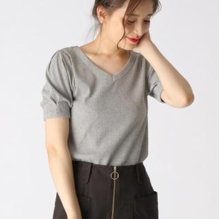 ミスティウーマン(mysty woman)の【新品】カットリブTシャツ【前後2way】(カットソー(半袖/袖なし))