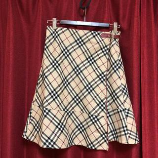 バーバリー(BURBERRY)のバーバリーブルーレーベル☆巻きチェックスカート レディース36(ひざ丈スカート)