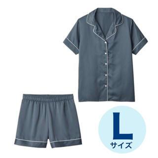 ジーユー(GU)のサテン パジャマ グレー 半袖 ショートパンツ ルームウェア L(パジャマ)