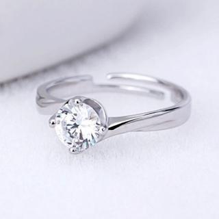★男性諸君必見★美品♡大粒ダイヤモンド&S925プラチナ仕上げ四本爪0.5ct(リング(指輪))