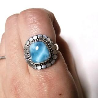 天然石 ラリマー リング 指輪 13号 Silver925 パワーストーン(リング(指輪))