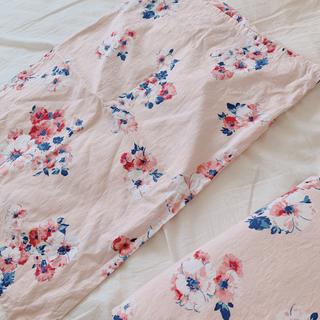 フランフラン(Francfranc)のフランフラン リネン 布団カバー 花柄 ピンク(シーツ/カバー)