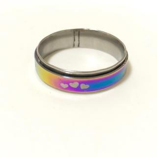 同時購入で300円 ステンレス指輪 レインボー ハート(リング(指輪))