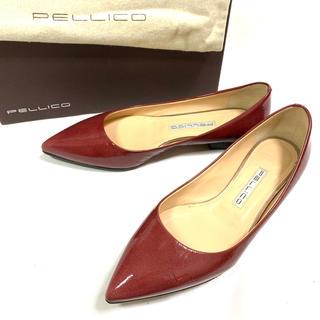 PELLICO - PELLICO 約23.5cm 37 エナメル フラットシューズ 赤 レザー